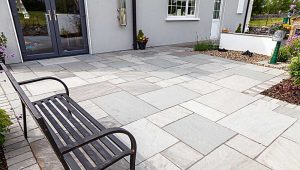 Grey Patio with Garden Bench jointed with Joint-It Simple paving grout